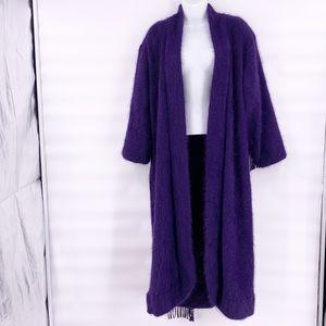 Purple angora vintage trench coat venesha M
